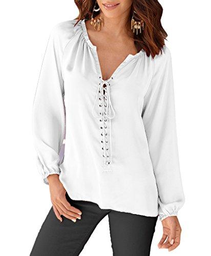 Bigood T-shirt Col V Femme Mousseline de Soie Chemise Blouse Top Manches Longues Bandage Casual Blanc