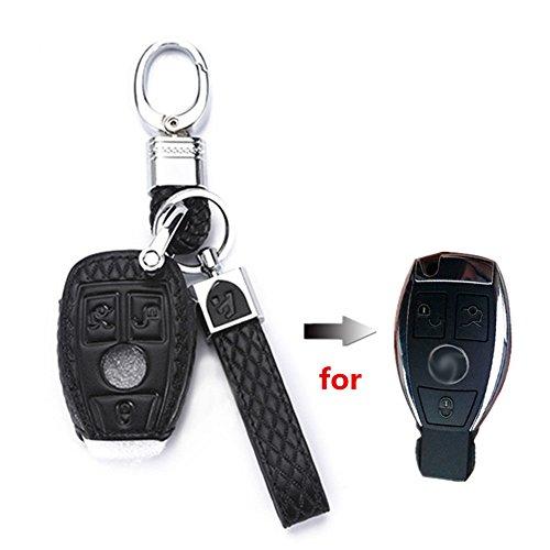 Happyit Cuir Voiture Cl/é Cas Couverture pour Mercedes Benz A Classe W169 B C E S R C200E 260L GLK300 2 Bouton T/él/écommande
