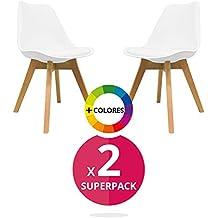 Silla Nórdica (Pack 2) - Silla escandinava Blanca - silla nordic scandi inspirada en silla eames dsw - Mona - (Elige tu color)