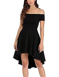 EOZY Robe Femme Mi-Longue Épaule Dénudé Taille Haut Évasé Vintage Unie Noir