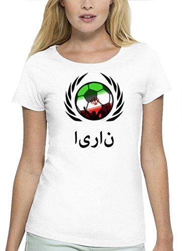 ShirtStreet Wappen Fussball WM Premium Fanfest Damen T-Shirt Bio Baumwolle Stanley Stella Fußball Iran White