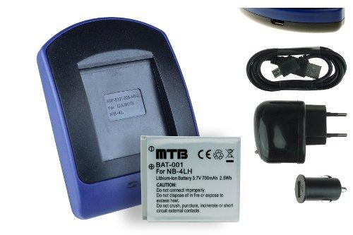Batteria + Caricabatteria (USB/Auto/Corrente) NB-4L per Canon IXUS, IXY Digital, Powershot... - v.