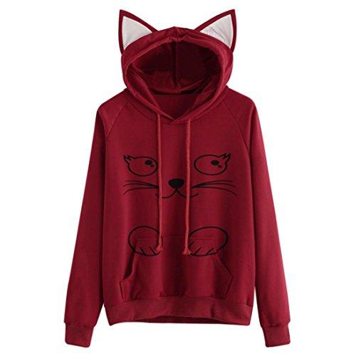 llover Hoodie Sweatshirt Mit Kapuze Langarm Rundhals Pullover outwear Cute Cat Ears Hooded Oberseiten Casual Winter Herbst warm Streetwear Tops (XXL, Rot B) (Känguru Kostüm Mit Tasche)