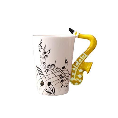 Erjialiu Keramiktasse Kaffeetasse Porzellan Teetassen Reisekaffeetassen Tragbare Tasse Für Milch 250 Ml Saxophon Musik Becher,Gelb,250ML