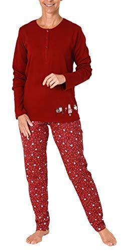 Damen Pyjama Schlafanzug mit süssen Hunde Motiv - auch in Übergrössen - 281 201 96 226, Farbe:rot, Größe2:40/42