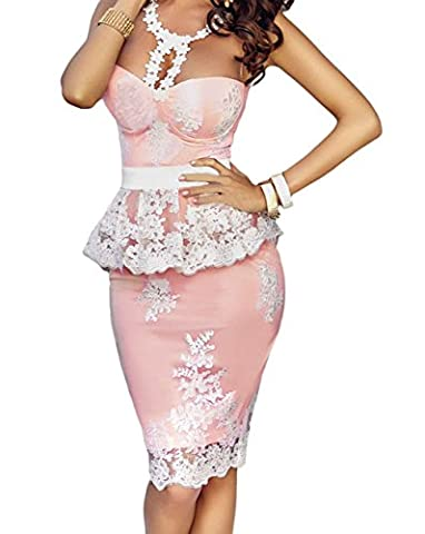 Bling-Bling Floral Lace Crochet Nude Illusion Pink Peplum Dress(Size,S)