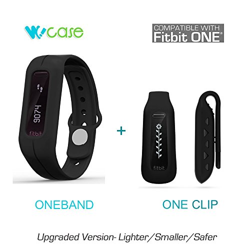 WoCase Pack of Two ( OneBand + One Clip ) Fitbit One Accessory Wristband Bracelet Collection ( Twin Schwarz ,One size, fits most wrist,2016 Lastest Version, Secured, Lost Proof) for Fitbit One Activity and Sleep Tracker