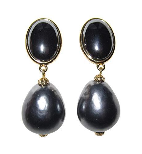 Graue, sehr große leichte Clip-Ohrstecker Ohrringe vergoldet Stein anthrazit glänzend Anhänger Perle dunkel-grau Tropfen Designer JUSTWIN -