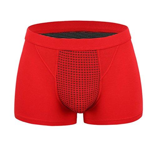 2 Pack Mens Slips Herren Sexy Modal Unterwäsche Shorts Herren Boxer Unterhosen Soft Briefs,Red-XXXL (Unterwäsche Brief Knit Boxer)