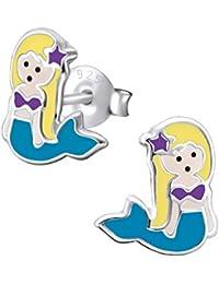 Laimons Pendientes para niña Sirenita Azul, Morado, Amarillo Plata de ley 925