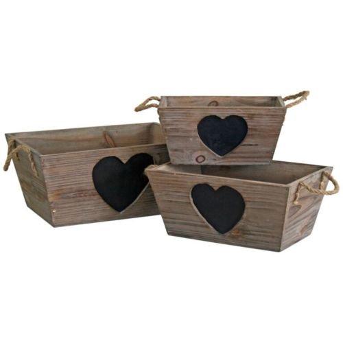 French Vintage Holz Aufbewahrungsbox Shabby Box Herz Kreidetafel Korb Hochzeiten, holz, braun, L (Korb Für Zwiebel Und Kartoffel)