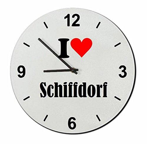 """Exklusive Geschenkidee: Glasuhr """"I Love Schiffdorf"""" eine tolle Geschenkidee die von Herzen kommt- Uhr- Weihnachts Geschenktipp"""