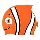 Hochwertige Silikon-Badekappefür Kinder –Schwimmkappe mit Tiermotiv für Mädchen & Jungen–4lustige Fisch-Designs–Haar-Schutz vor Bakterien und Chlor im Schwimmbad, Orange
