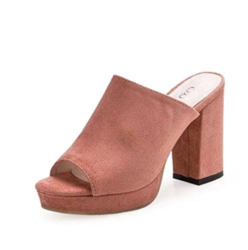Tacco Alto Pantofole Fresco di Estate delle Signore,Grossolana e abrasivi Moda Sandali-A Lunghezza Piede=23.8CM(9.4Inch)