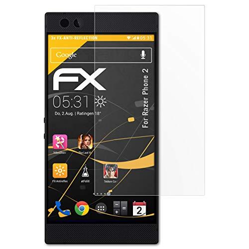 atFolix Panzerfolie kompatibel mit Razer Phone 2 Schutzfolie, entspiegelnde & stoßdämpfende FX Folie (3X)