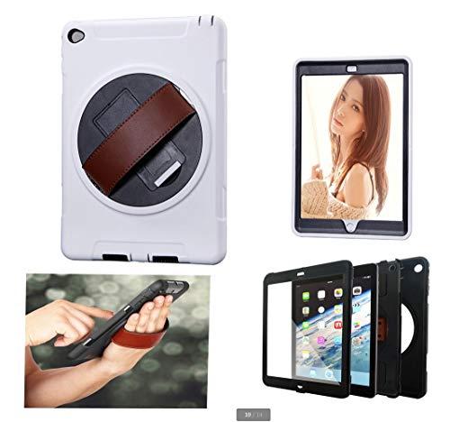 WLWLEO Für iPad Air2 Hülle, 3 in 1 All Inclusive Stoßfeste Schutzhülle mit 360 ° drehbarer Halterung Strap Handschlaufe,Weiß,iPadAir2 Weiß Multi Strap