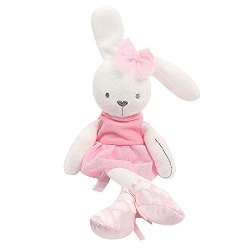 Highdas Kaninchen-Häschen-Schlafenkomfort gefüllte weiche Plüsch-Puppen-Spielzeug-Baby-Mädchen-Geschenke (Rosa) (Plüsch-baby-puppe)