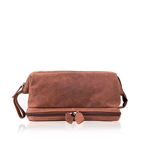 4a192af55b3a Lakeland Leather Hunter Leather Wash Bag in Tan Brown - Men s Toiletry Bags