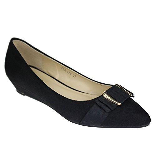 Aarz Women Ladies Casual Comfort Wedge Heel Pump Court Shoes Size ( Black,Khaki,Navy) Noir