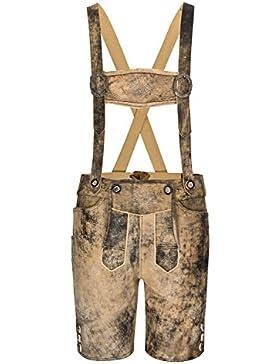 Kurze Hirschberger Antik Trachten Lederhose Krokus braun-schwarz weiches Glattleder