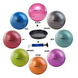 PEZZIBALL MAXAFE Set Gymnastikball + Schale + ATC-Pumpe - Verschiedene Größen 42, 53, 65, 75 cm, Belastbarkeit bis 400 kg, Yogaball, Fitnessball, Büroball