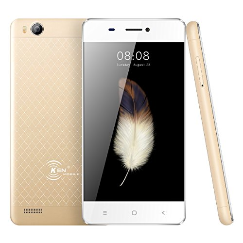 Smartphone Pas Cher,Ken V5 Telephone Portable Debloqué 3G Android 6.0 4.0 Pouces-1500mah Capacité- Quad Core 1 Go 8 Go Rom Double SIM WiFi GPS Bluetooth(jaune d'or)