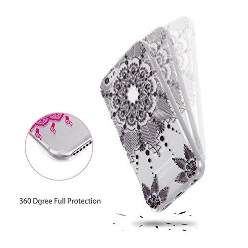 iPhone 6/6S Hülle, E-Lush TPU Soft Silikon Tasche Transparent Schale Clear Klar Hanytasche für Apple iPhone 6/6S (4.7 Zoll) Durchsichtig Rückschale Ultra Slim Thin Dünne Schutzhülle Weiche Flexibel Ha Schwarz Totem