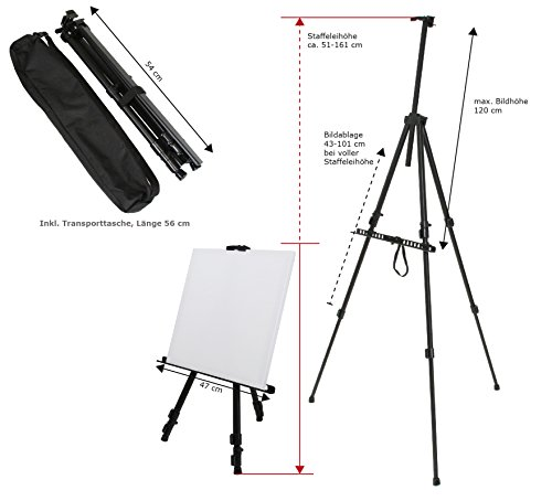 Paintersisters-Neuss Feldstaffelei Easy aus Aluminium, für Keilrahmen bis 120 cm, Künstler Staffelei vom Fachhändler mit Tragetasche