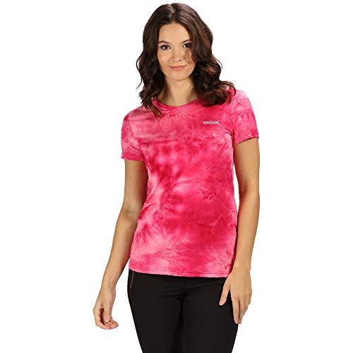 Regatta Damen Womens Fingal IV Quick Drying UV Protection Active Sports T-Shirt, Neon Pink Tie-Dye, 12 - Womens Tie Dye