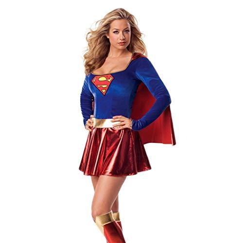 QWEASZER Offizielles Damen-Supergirl-Kleid, Kostüm für Erwachsene - Mittelgroßes Supergirl-Damen-Kostüm Superheld Damen Erwachsene Super Mädchen Kostüm Outfit Superfrau Kostüm,Superwoman-S