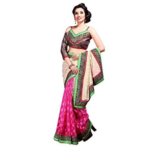 Striking Magenta Border Worked Faux Georgette,Net,Jacquard saree By Triveni  available at amazon for Rs.1265