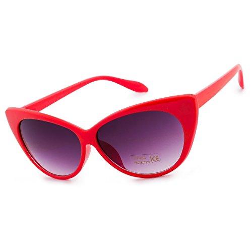 Damen Dame Sonnenbrille Brille Katzenaugen Stil Cat Eyes MFAZ Morefaz Ltd (Vintage Brille Rot Cat Eye)