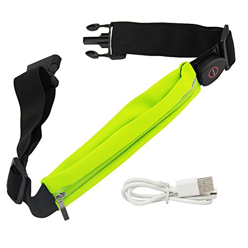 LED Running Belt, JTDEAL USB Rechargeable LED Reflective Running Gear with Pouch, Waistpack Fanny Pack Money Belt Runners Bag With LED Safety Lights, Perfect for Traveling Hiking Fit iPhone 6 plus Galaxy S5 S6 Note 4/5