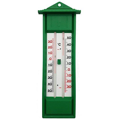 PROHEIM Wand Thermometer 23 cm aus Kunststoff in Grün Gartenthermometer mit Minimum/Maximum Temperaturanzeige