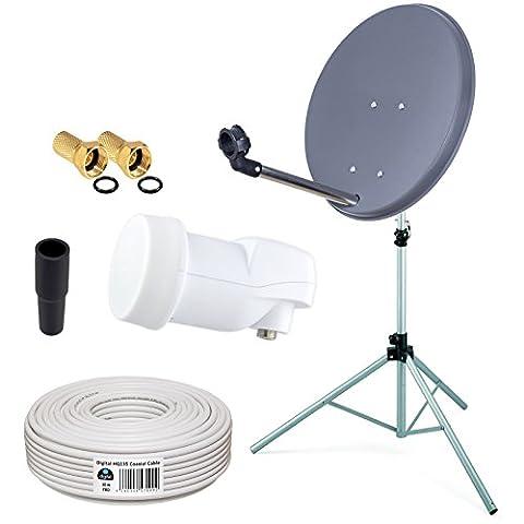 HB-Digital Camping Mini Sat Anlage 40cm Schüssel + ALU Dreibein Stativ + Opticum LNB 0,1 10m für HDTV UHD 3D 4K geeignet in