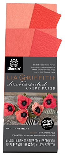 Lia Griffith Double Sided Crepe Paper Folds Roll, 6. 7-Square Feet, Strawberry and Tulip Pink, Flamingo and Peony Pink (LG11021)