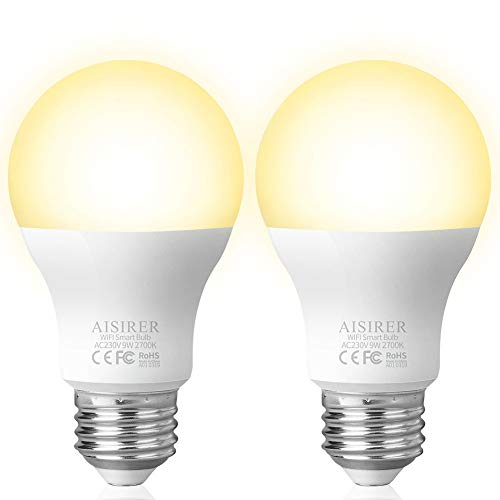 Lampadina Intelligente, AISIRER Lampadina Smart WiFi E27 Dimmerabile 2700K Equivalente 806LM Calda Luce Controllo tramite App funziona con Amazon Alexa (Echo,Echo Dot) e Google Assistant (2 pack)