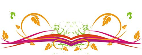 T-Shirt E134 Schönes T-Shirt mit farbigem Brustaufdruck - Logo / Comic - filigrane Grafik mit Ranken und Blättern Mehrfarbig