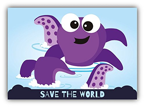save-the-world-octopus-cartoon-animal-greenpeace-slogan-car-bumper-sticker-decal-12-x-10-cm