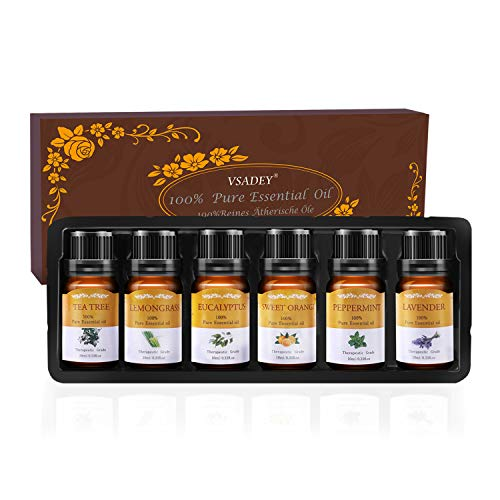 Vsadey Ätherische Öle Set Bio Natürliche Aromatherapie Duftöl 100% Pur 6 * 10 ml, Spa Organische Parfüm Essential Oils für Diffuser (Orange, Lavendel, Teebaum, Zitrone, Eukalyptus und Pfefferminze) -