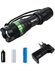 SOAIY® Linterna LED conjunto completo, con bateria 18650 y cargador, 3 modos de iluminación, Impermeable y ajustable Zoom, para bicicleta y acampada y excursión etc