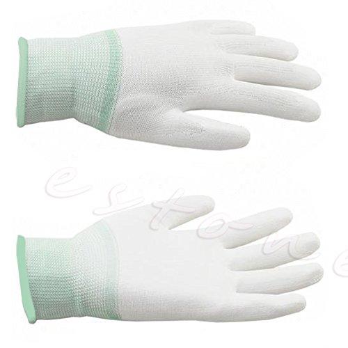 (SimpleLife Nylon Quilters Free Motion Maschine Quilten Nähen Griffhandschuhe Fingerspitzengriff(Weiß + Grün))