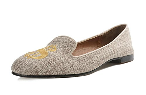 GLTER Le donne dei pattini degli appartamenti a Testa Tonda bocca superficiale scarpe tacco basso lettere spesse Tacchi Large Size 40 Closed-Toe Scarpette Sandali Khaki