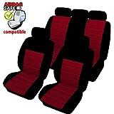 Akhan SB402 - Qualität Auto Sitzbezug Sitzbezüge Schonbezüge Schonbezug mit Seitenairbag Schwarz/Rot