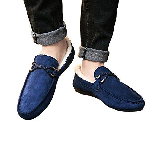 Hzjundasi Hommes Hiver Mocassins en daim mocassins plats avec des semelles en caoutchouc semelle intérieure Low-Top Slippers fourrure Bleu