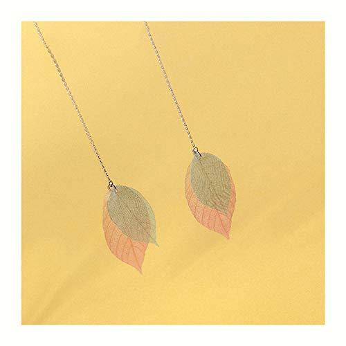 Lotus Fun S925 Sterling Silber Ohrringe Einfach Tüll Blätter Quasten Lang Ohrringe Natürlicher Handgemachter Einzigartiger Schmuck für Frauen und Mädchen -