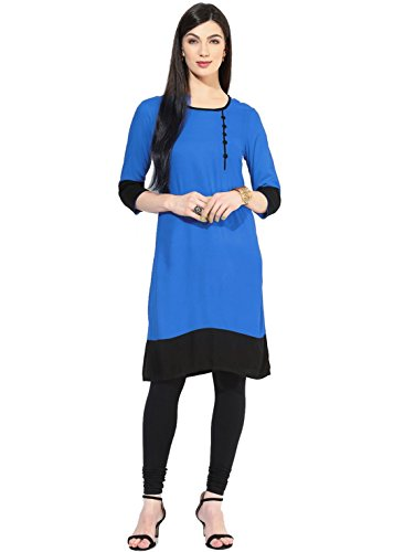 Vipul Women's Branded Blue & Black Casual Wear Cotton L Size Kurti (Best Gift For Mummy Mom Wife Girl Friend, Offers and Sale Discount)  available at amazon for Rs.97