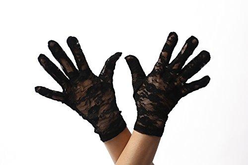 DRESS ME UP RH-007-black Handschuhe Spitze Spitzenhandschuhe Kurz Damen Schwarz Gothic Goth...