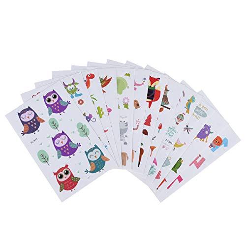 X-mile 12*cartone animato tatuaggi temporanei per bambini,temporary tattoos per bambini festa di compleanno sacchetti regalo giocattolo 12x7.5cm
