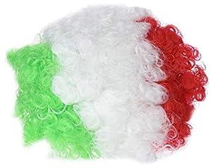 Atosa-24508 Atosa-24508-Peluca Payaso Bandera Italia Azzurra-Mundial De Fútbol Y Deportes, Color Verde, Blanco y Rojo (24508)